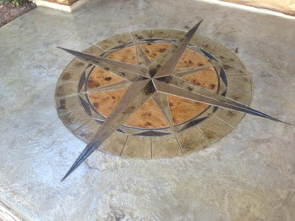 Stamped Concrete Medallion Compass